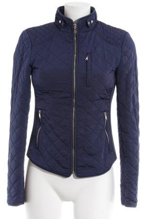 Zara Woman Quilted Jacket dark blue quilting pattern rider style