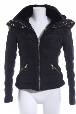 Zara Woman Quilted Jacket black quilting pattern casual look