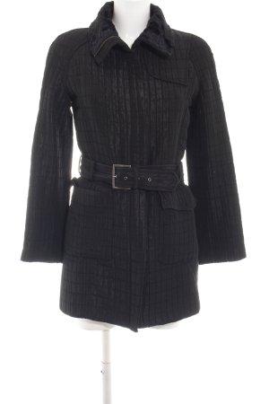Zara Woman Manteau matelassé noir motif de courtepointe style d'affaires