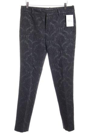 Zara Woman Stoffhose waldgrün-schwarz florales Muster Business-Look
