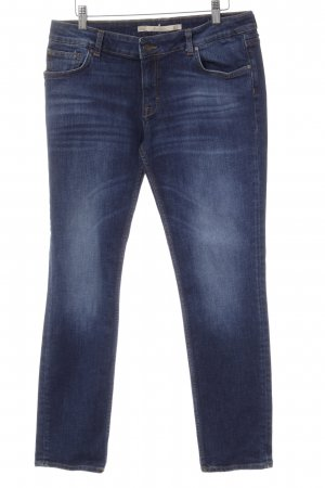Zara Woman Straight-Leg Jeans blau Washed-Optik