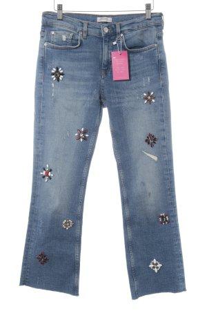 Zara Woman Straight-Leg Jeans kornblumenblau Blumenmuster Casual-Look
