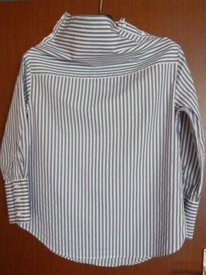 Zara Woman Blusa de cuello alto blanco-azul Algodón