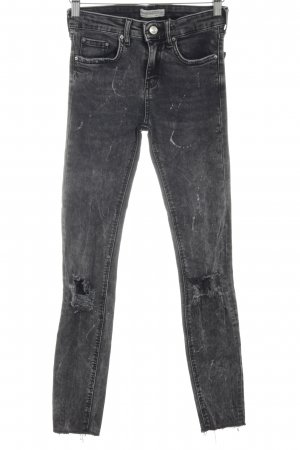 Zara Woman Stretch Jeans schwarz-hellgrau Street-Fashion-Look