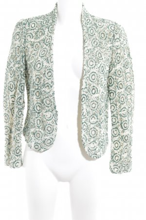 Zara Woman Knitted Blazer cadet blue-natural white floral pattern lace look
