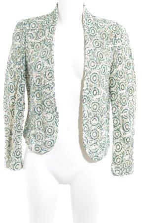 Zara Woman Strickblazer kadettblau-wollweiß florales Muster Spitzen-Optik