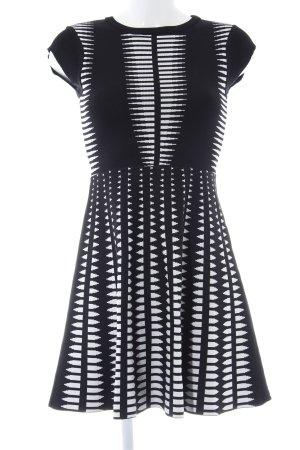 Zara Woman Strickkleid schwarz-weiß abstraktes Muster Elegant