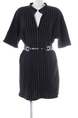 Zara Woman Strickkleid schwarz-weiß Streifenmuster Kuschel-Optik