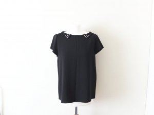 Zara Woman studded Bluse Gr. L 40 schwarz gold Nieten Bubikragen