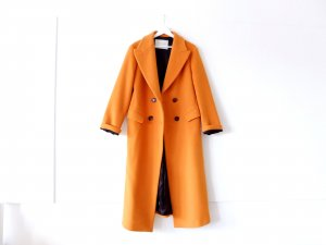 Zara Woman Studio Mantel Gr. S M 36 38 40 Wolle lang gelb orange braun retro