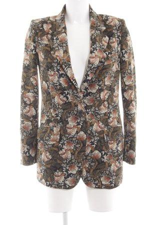 Zara Woman Sweatblazer dunkelgrün florales Muster Elegant