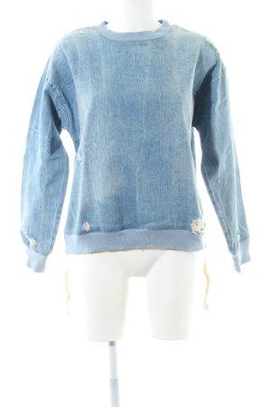 Zara Woman Sweatshirt blau Street-Fashion-Look