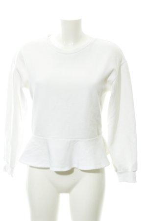 Zara Woman Sweatshirt weiß-wollweiß Casual-Look