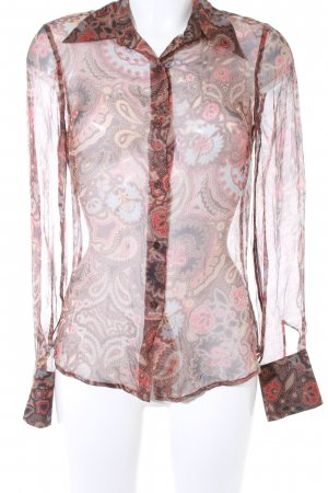 Zara Woman Transparenz-Bluse florales Muster Transparenz-Optik