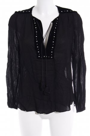 Zara Woman Transparenz-Bluse schwarz Elegant