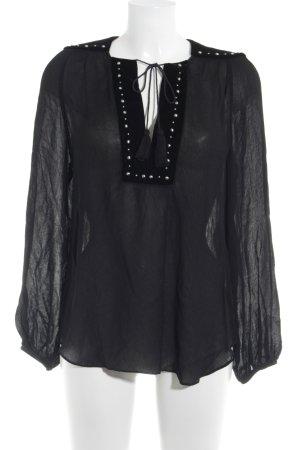 Zara Woman Transparenz-Bluse schwarz-silberfarben Casual-Look