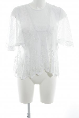 Zara Woman Transparenz-Bluse weiß Romantik-Look