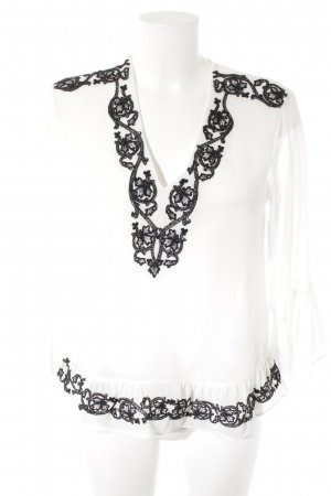 Zara Woman Transparante blouse wit-zwart romantische stijl