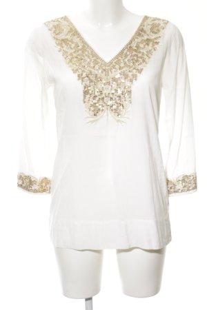 Zara Woman Tunikabluse weiß-goldfarben Casual-Look