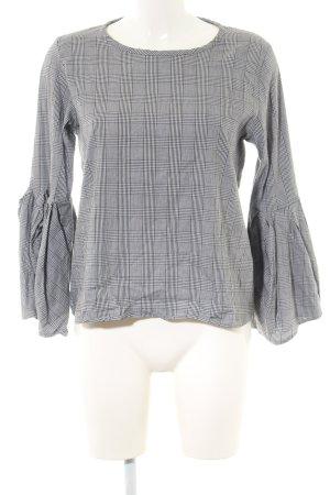 Zara Woman Tunic Blouse light grey-black check pattern business style