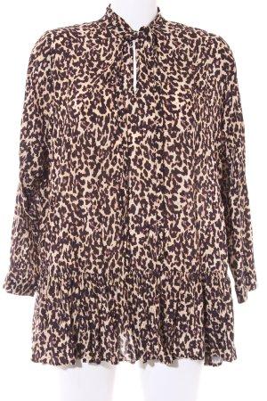 Zara Woman Tuniekblouse zwart-beige luipaardprint feest stijl