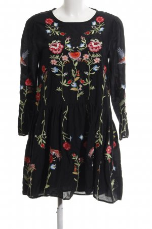 Zara Woman Tunic Dress black flower pattern casual look
