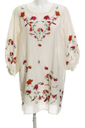 Zara Woman Tunikakleid creme Blumenmuster Boho-Look