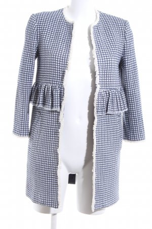 Zara Woman Tweed Blazer blue-white check pattern casual look