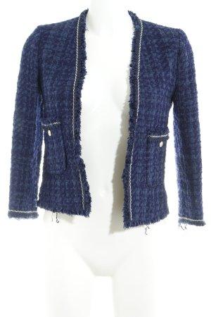 Zara Woman Tweed blazer donkerblauw Webpatroon elegant