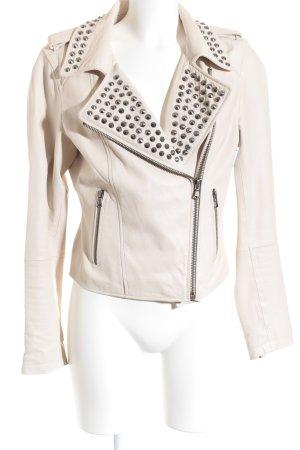 Zara Woman Übergangsjacke hellbeige Biker-Look
