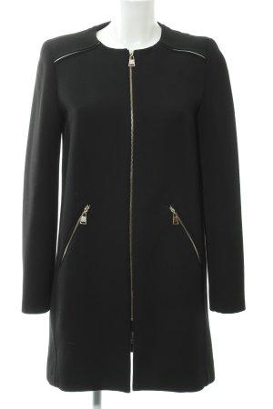 Zara Woman Abrigo de entretiempo negro-blanco puro look casual