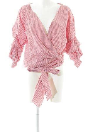 Zara Woman Camicetta aderente carminio-bianco motivo a righe elegante