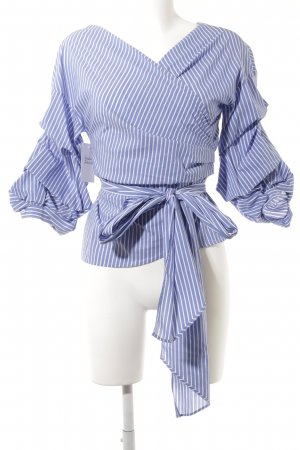 Zara Woman Wraparound Blouse steel blue-white striped pattern beach look