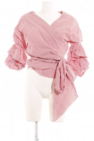 Zara Woman Wikkelblouse wit-rood gestreept patroon straat-mode uitstraling