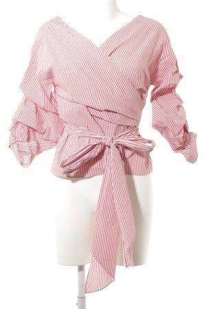 Zara Woman Wraparound Blouse brick red-white striped pattern beach look