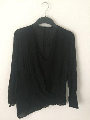 Zara Woman Wickelhirt mit transparenten Stellen Schwarz