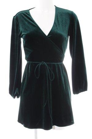 Zara Woman Wickelkleid petrol Samt-Optik