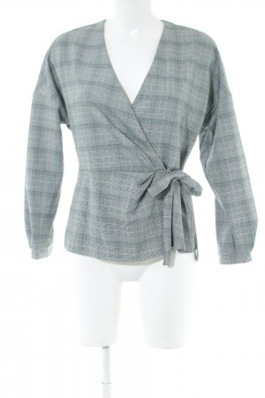 Zara Woman Wraparound Shirt white-light grey check pattern business style