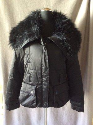 Zara Woman Winter Jacke mit Kunstfellkragen Gr L schwarz