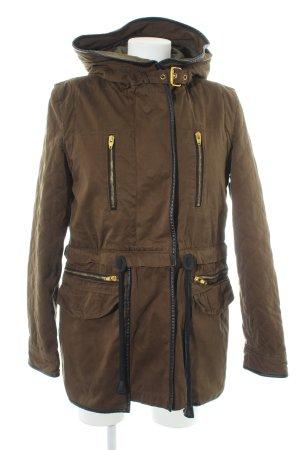 Zara Woman Winterjacke khaki-olivgrün Kuschel-Optik