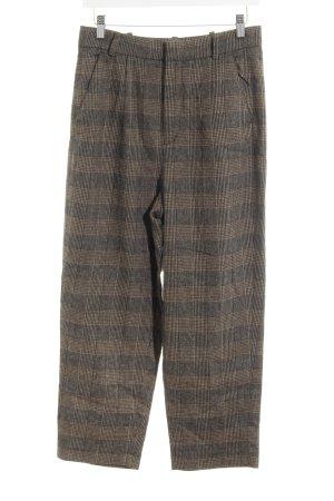 Zara Woman Pantalon en laine marron clair-brun foncé motif à carreaux