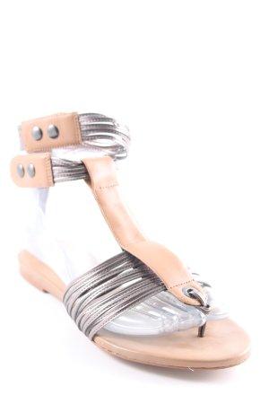Zara Woman Zehentrenner-Sandalen silberfarben-beige Beach-Look