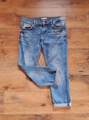 Zara Women Premium Denim Collection Destroyed Ripped Jeans blau Gr. 38