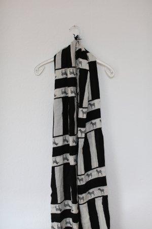 Zara XXL Tuch Scarf Ethno Vintage Stil Strandtuch Baumwolle schwarz weiß