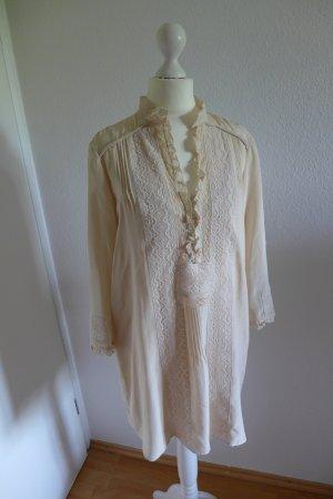 Zara zart Vintage Kleid Seide Spitze mit Unterkleid nude blush rose Gr. S