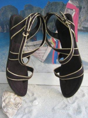 Zara Sandalen met bandjes zwart-goud