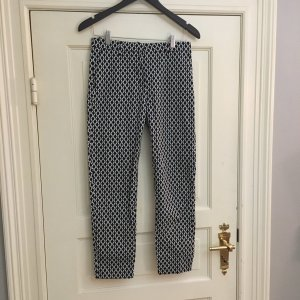 Zara High Waist Trousers white-black cotton