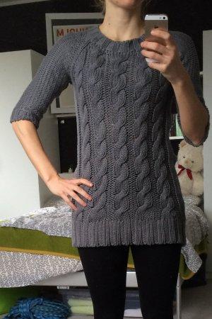 Zara Zopfstrick Longpulli, Strickkleid, 3/4-Arm, asymmetrisch, grau