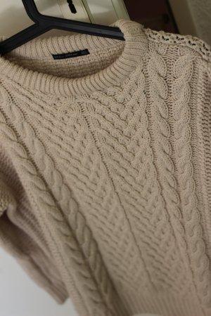 Zara Pull tricoté beige clair-blanc