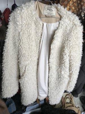 Zara Giacca di pelliccia crema